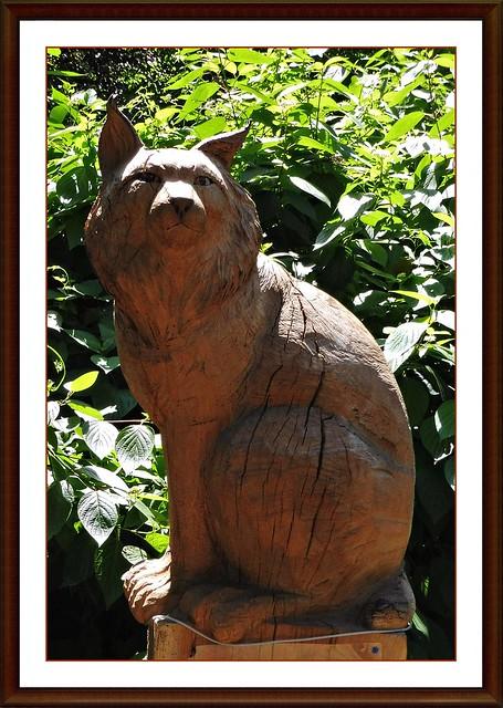 19 - Jardin Botanique Jean-Marie Pelt (Villers-lès-Nancy)  - Sculpture réalisée à la tronçonneuse par Jean Bergeron de Charon, Lynx