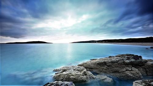 sunset longexposure seascape blue gairloch scotland horizon clouds