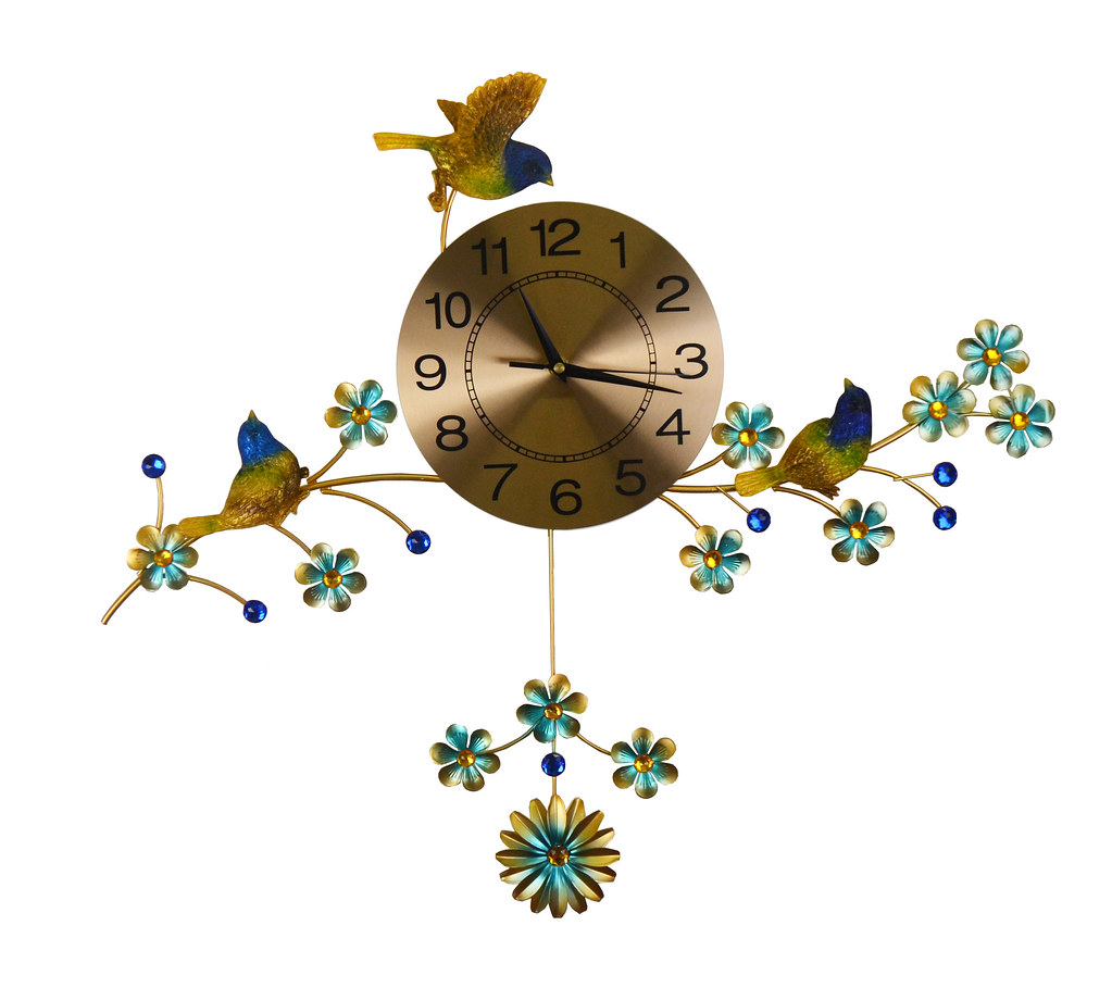 Gold & Blue Three Birds Metal Wall Clock