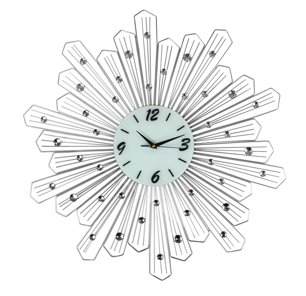 Round Spoke Style Silver Metal Wall Clock Crystal Accents