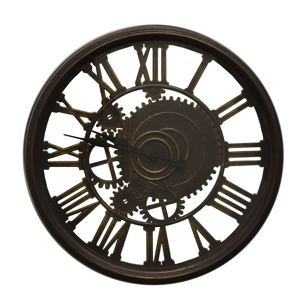 Steampunk Style Brown Wall Clock Roman Numerals Sculptural Home Decor Wall Art