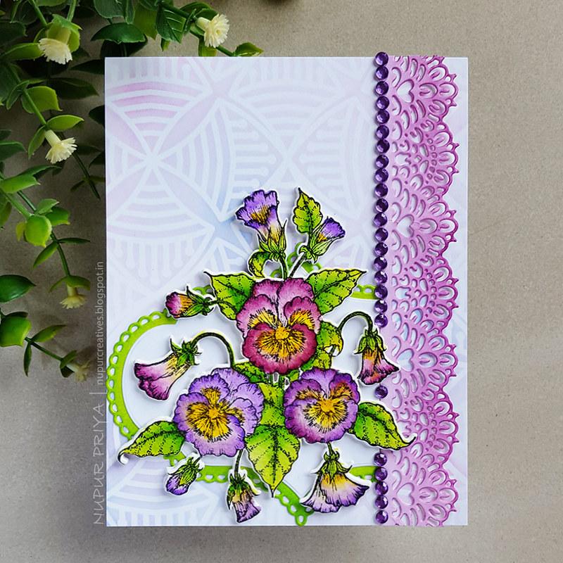 Purple Pansy Card 1
