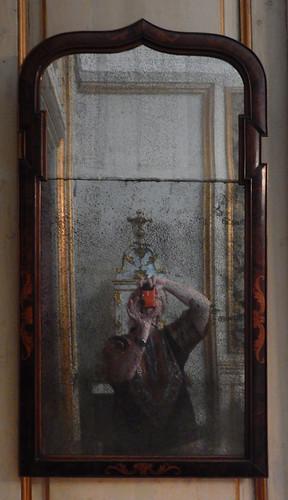 Selfie in an old mirror Danish History Museum in Copenhagen, Denmark