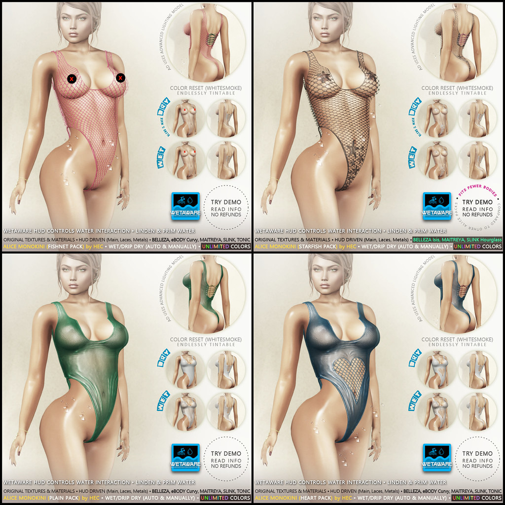 HEC (Event Exclusive) • ALICE WetAware Tintable Monokinis ALL PACKS