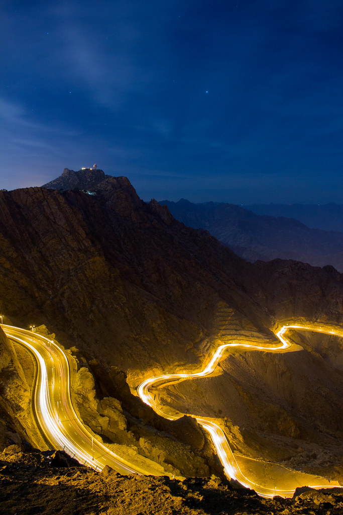 Alhada Mountain Highway at Night Makkah Region Saudi Arabia (2)