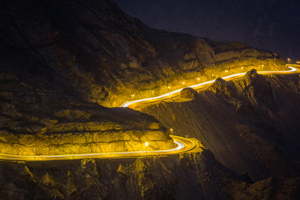 Alhada Mountain Highway at Night Makkah Region Saudi Arabia (3)