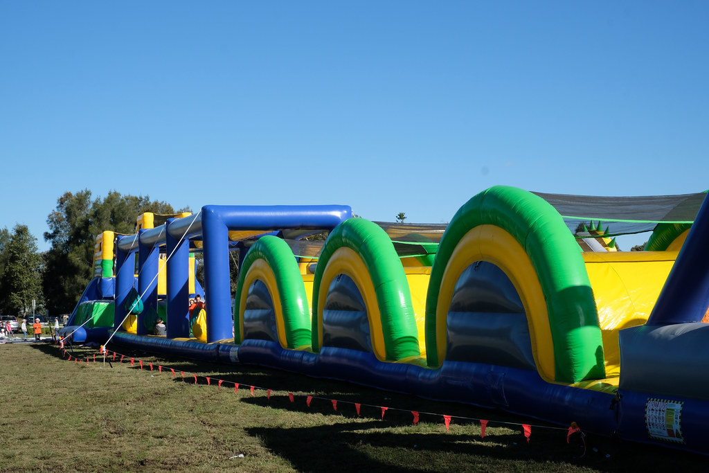 Enormous inflatable obstacle course