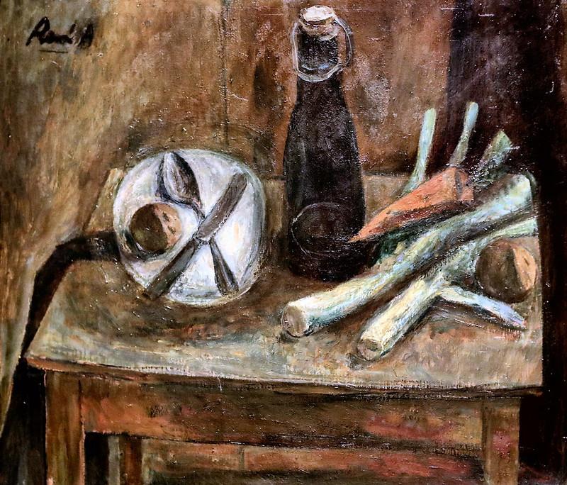 IMG_6631 René Auberjonois. 1872-1957. Jouxtens-Mézery Nature morte à la bouteille et au poireau.  Still life with bottle and leek.1947 Aix en Provence. Musée Granet.