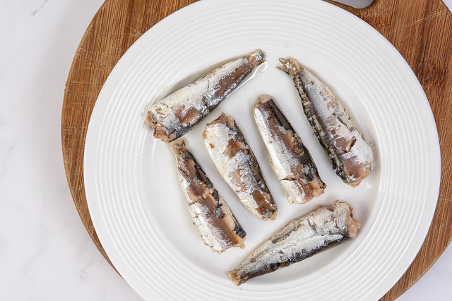 Canned Sardines Fish served on the plate