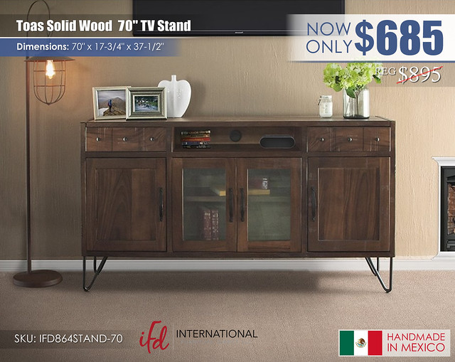 Toas Solid Wood 70in TV Stand_IFD864STAND-70
