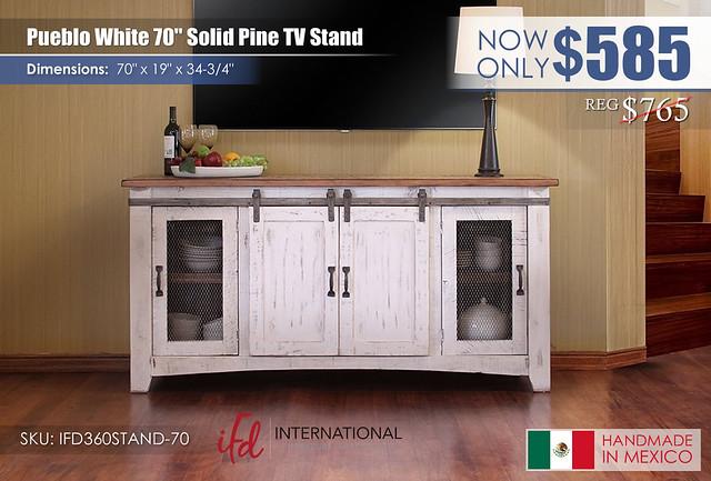 Pueblo White 70in TV Stand_IFD360STAND-70