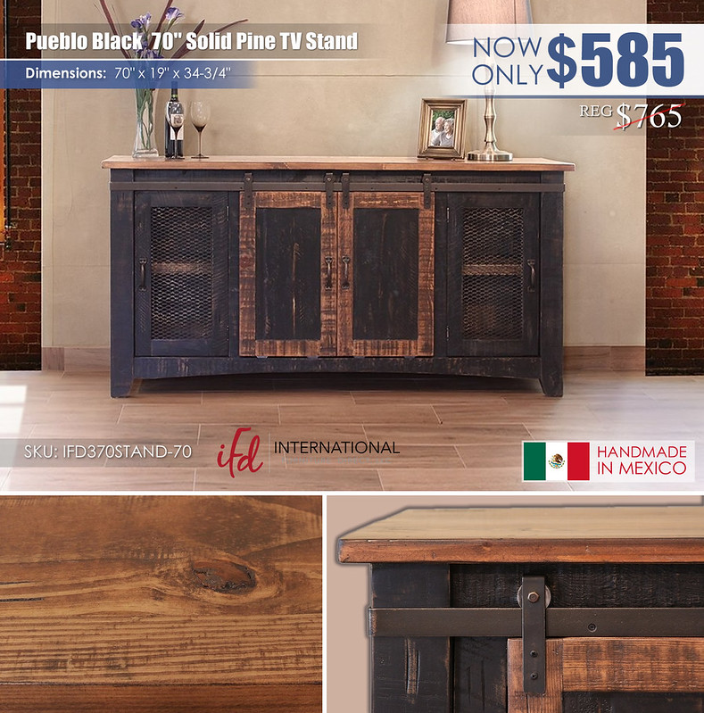 Pueblo Black 70in TV Stand_IFD370STAND-70