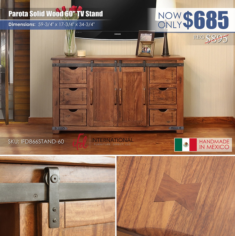 Parota Solid Wood 60in TV Stand_IFD866STAND-60