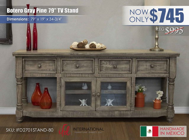 Botero Gray Pine 80in TV Stand_IFD2701STAND-80
