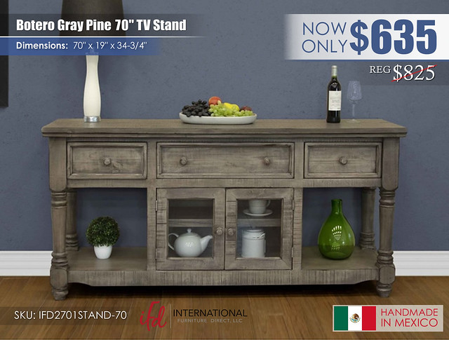 Botero Gray Pine 70in TV Stand_IFD2701STAND-70