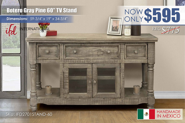 Botero Gray Pine 60in TV Stand_IFD2701STAND-60