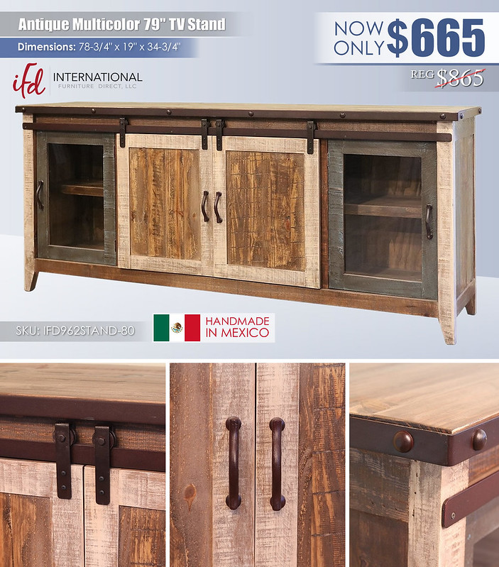 Antique Multicolor 79in TV Stand_IFD962STAND-80