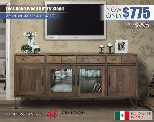 Toas Solid Wood 80in TV Stand_IFD864STAND-80
