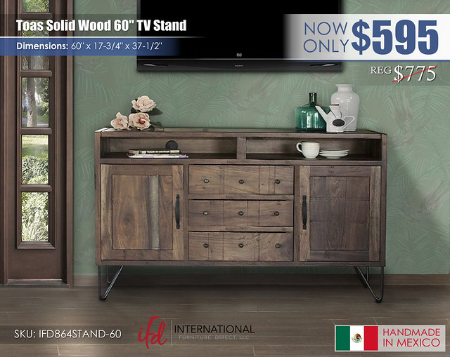 Toas Solid Wood 60in TV Stand_IFD864STAND-60