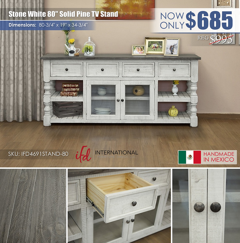 Stone White 80in TV Stand_IFD4691STAND-80