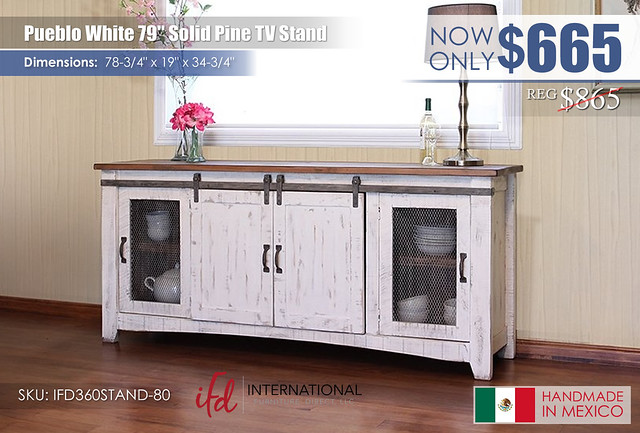 Pueblo White 79in TV Stand_IFD360STAND-80