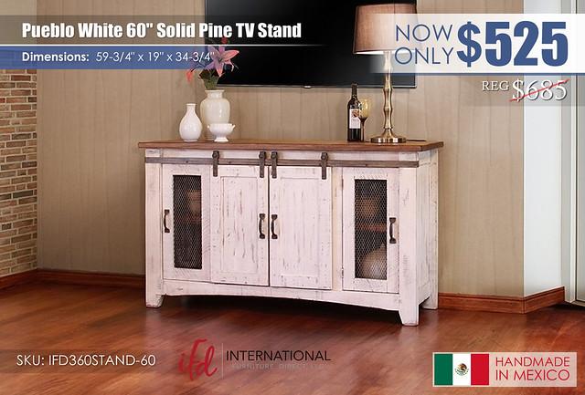 Pueblo White 60in TV Stand_IFD360STAND-60