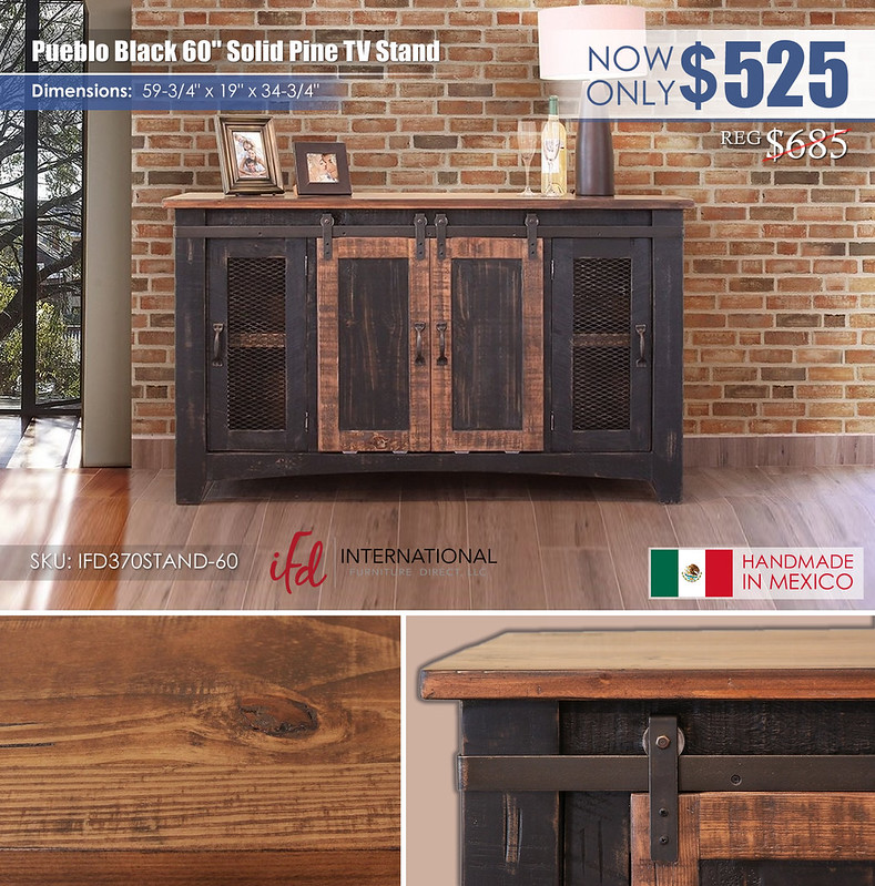 Pueblo Black 60in TV Stand_IFD370STAND-60