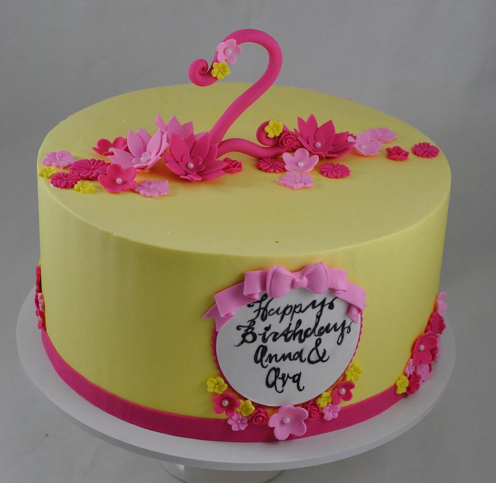 Outstanding Pink And Yellow Birthday Cake Jenny Wenny Flickr Funny Birthday Cards Online Ioscodamsfinfo