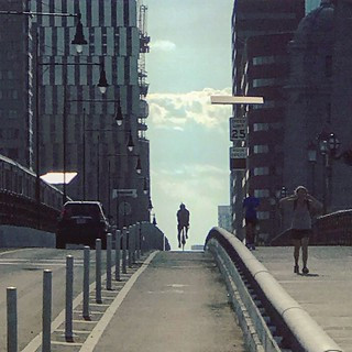 over the bridge by bicycle
