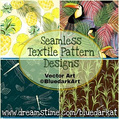 NEW #Vector #Seamless #Patterns #Textile #Designs!  ● #Pineapple #Watercolor #Fresh :point_right:  http://bit.ly/2NQYm63  ● #Toucans and #Palm #Leaves :point_right:  http://bit.ly/2Jz52S8  ● #Dragonflies and Leaves :point_right:  http://bit.ly/2XJgeEg  ●