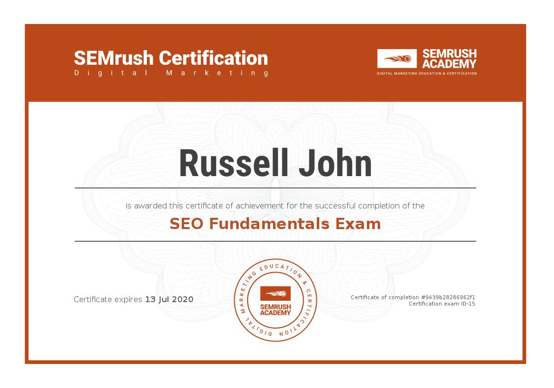 SEMrush SEO Fundamentals Exam Certificate - Russell John