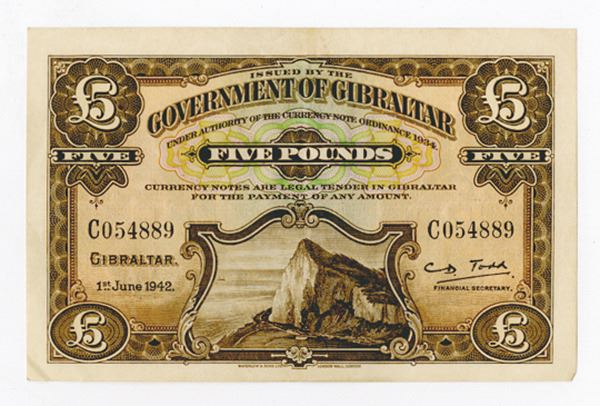 1942 Government of Gibraltar 5 pound note