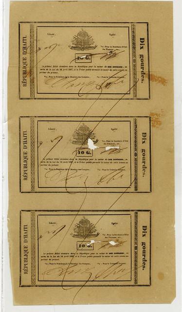1827 Haiti 10 Gourdes Uncut Sheet