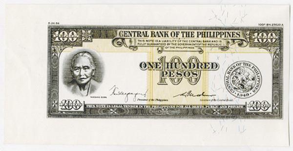 1949-1954 Philippines 100 Pesos Specimen