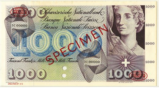 Switzerland 1000 Francs Specimen Note