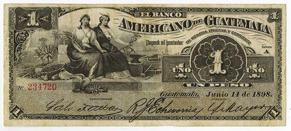 1898 Banco Americano de Guatemala 1 Peso