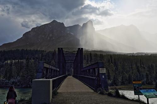 Canmore rail bridge storm