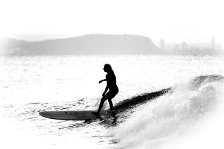 Grace on a longboard