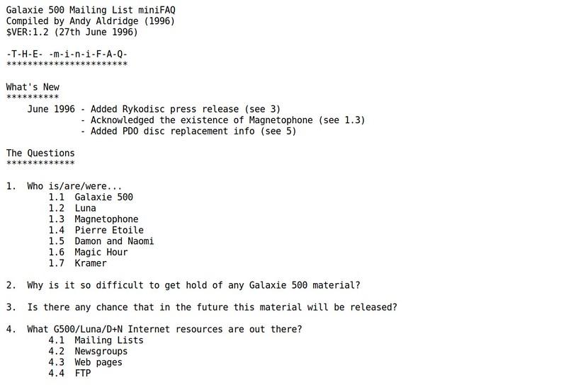 Galaxie 500 Mailing List miniFAQ