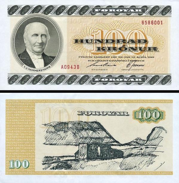 100 faerských korún Faerské Ostrovy 1994, P21f
