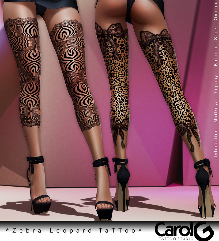 Zebra and Leopard Leg Tattoo [CAROL G] Fatpack
