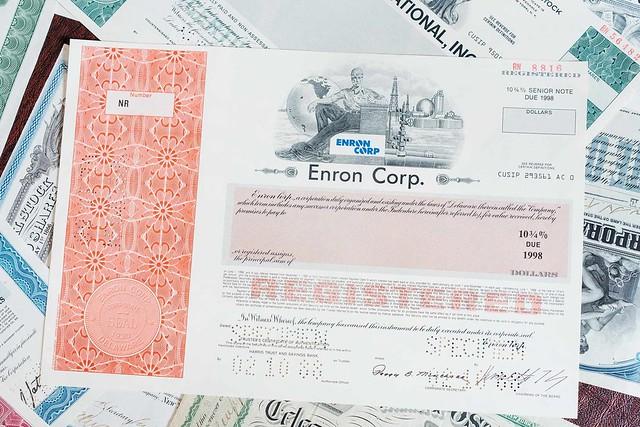 Enron bond certificate