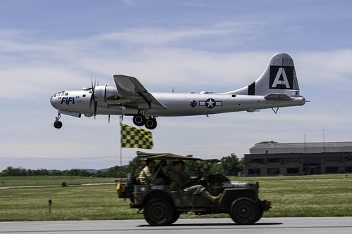 Boeing B-29 Over the Jeep