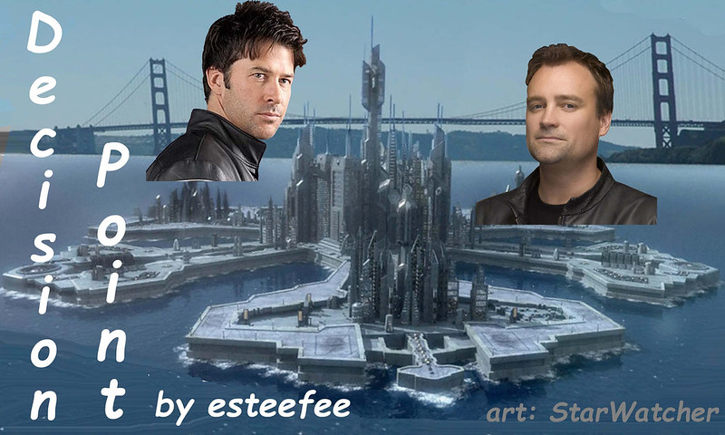 Atlantis with Golden Gate behind, headshots of John & Rodney above/in front of city