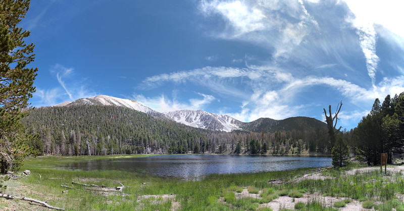 Panorama of Dry Lake with San Gorgonio Mountain, Jepson Peak and the two Charltons