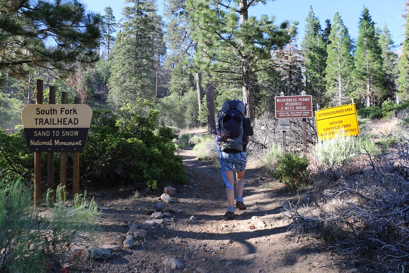 South Fork Trailhead signs with warnings about entering a burned area