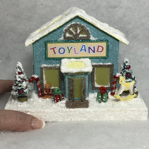 ORIGINAL Teal and Yellow Toy Store Putz