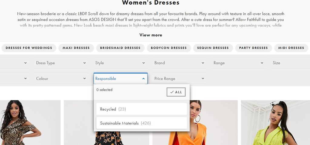 asos responsible drop down