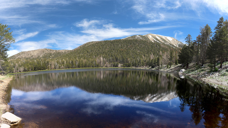 Panorama view of Dry Lake with a reflection of San Gorgonio Mountain