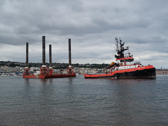 MTS VICTORY (MMSI: 235084806)  Deep Sea tug: Towing  HAVEN SEARISER 4 from Teignmouth..
